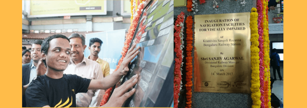 Navigation Facilities for visually impaired at KRS Railway Station, Majestic, Bangalore