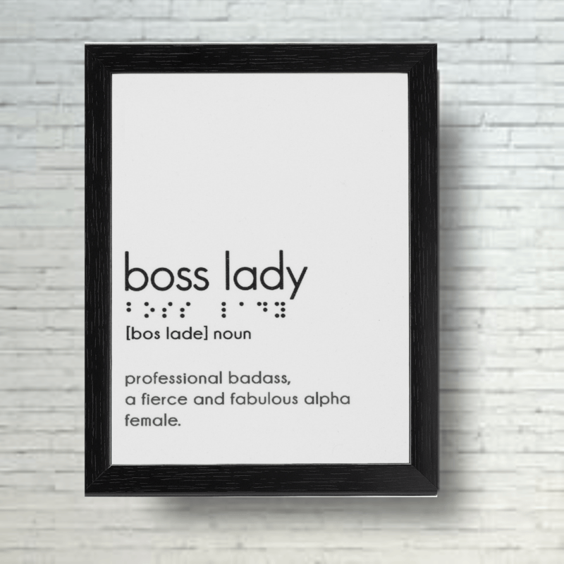 Boss Lady Table Top Frame With Braille Alphabets Framed Posters Laminated Prints Without Glass Size 8 X 6 Inch